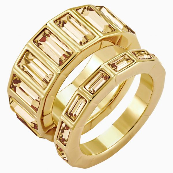 Swarovski Fluid Stacking Ring, Brown, Gold-tone plated