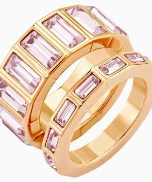 Swarovski Fluid Stacking Ring, Violet, Rose-gold tone plated