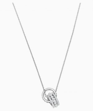 Swarovski Further Pendant, White, Rhodium plated