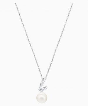 Swarovski Gabriella Pearl Pendant, White, Rhodium plated