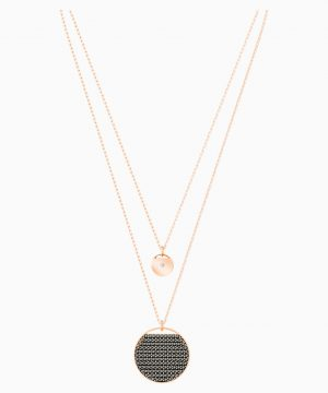 Swarovski Ginger Layered Pendant, Gray, Rose-gold tone plated