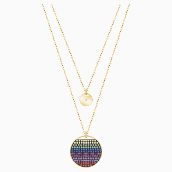 Swarovski Ginger Layered Pendant, Multi-colored, Gold-tone plated