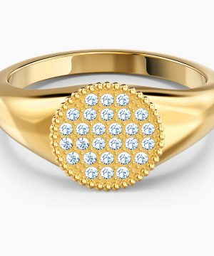 Swarovski Ginger Signet Ring, White, Gold-tone plated