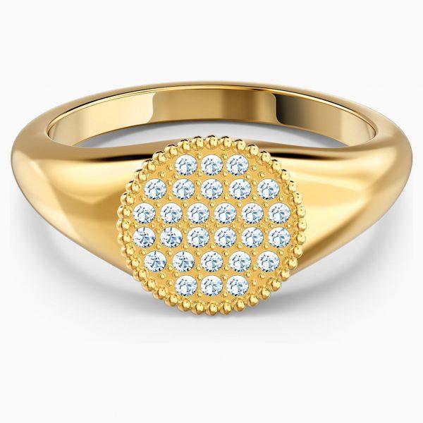 Swarovski Ginger Signet Ring, White, Gold-tone plated