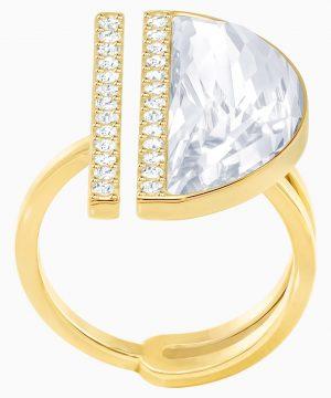 Swarovski Glow Ring, White, Gold-tone plated