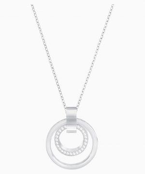 Swarovski Hollow Pendant, White, Rhodium plated