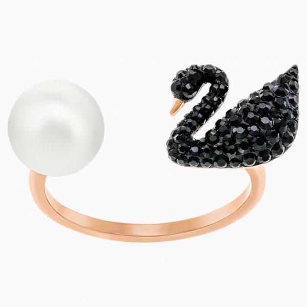 Swarovski Iconic Swan Open Ring, Black, Rose-gold tone plated