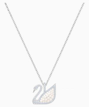 Swarovski Iconic Swan Pendant, White, Rhodium plated