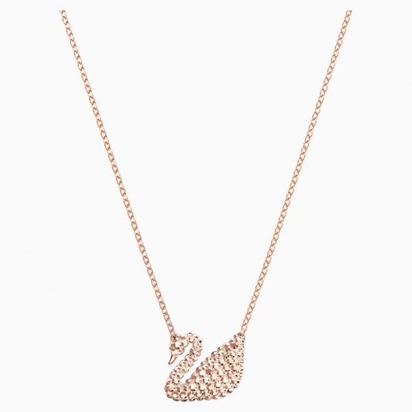 Swarovski Iconic Swan Pendant, White, Rose-gold tone plated