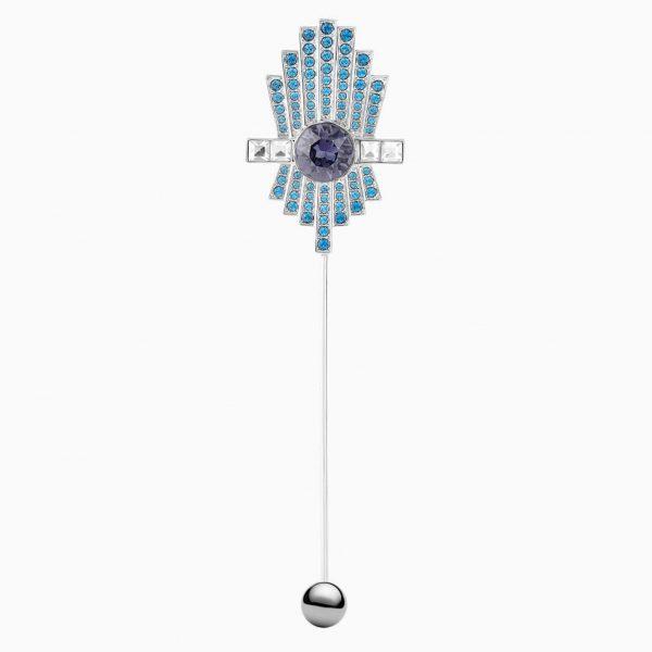 Swarovski Karl Lagerfeld Brooch, Blue, Palladium plated