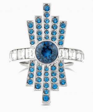 Swarovski Karl Lagerfeld Cocktail Ring, Blue, Palladium plated