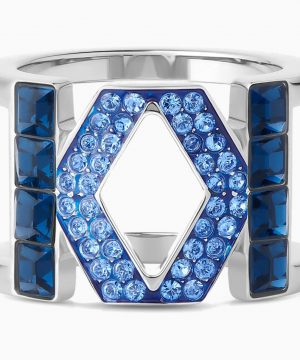 Swarovski Karl Lagerfeld Logo Ring, Blue, Palladium plated