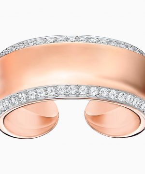 Swarovski Lakeside Ring, White, Rose-gold tone plated