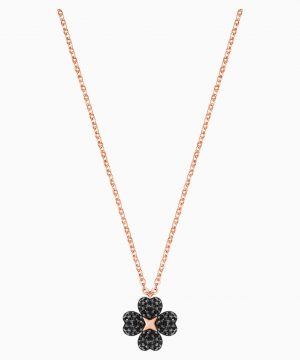 Swarovski Latisha Flower Pendant, Black, Rose-gold tone plated