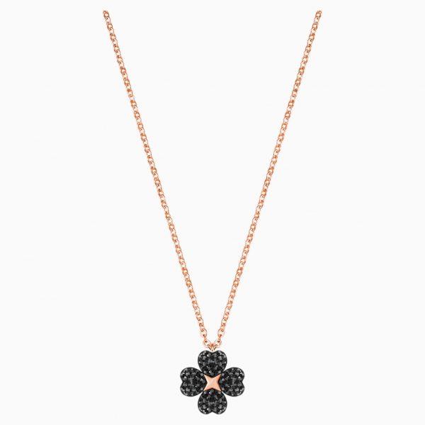Swarovski Latisha Flower Pendant, Black, Rose-gold tone plated