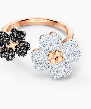 Swarovski Latisha Ring, Black, Rose-gold tone plated