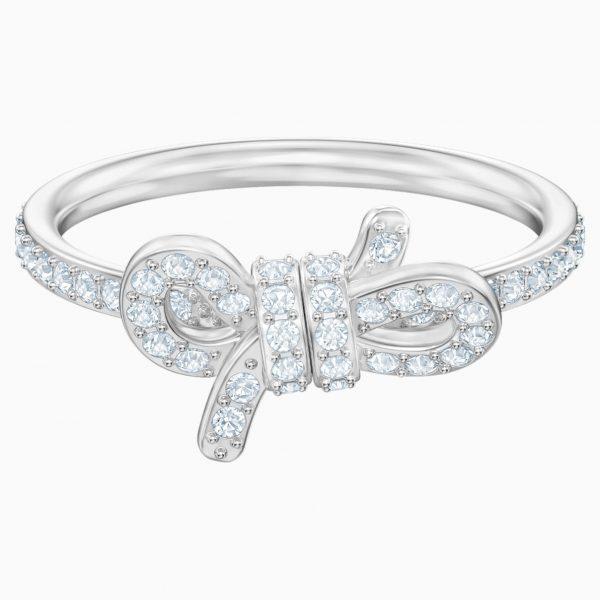 Swarovski Lifelong Bow Ring, Small, White, Rhodium plated