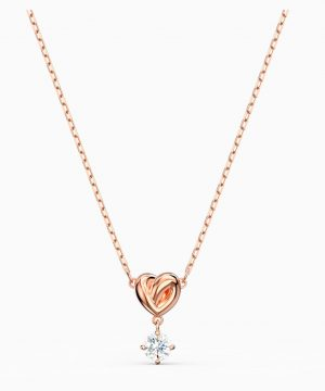 Swarovski Lifelong Heart Pendant, White, Rose-gold tone plated