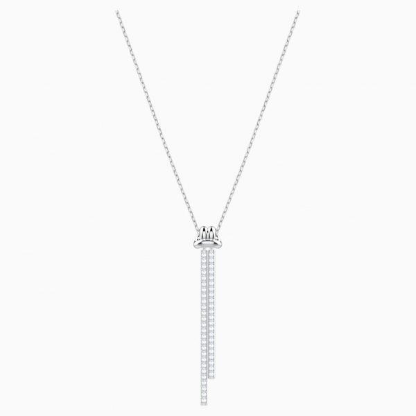 Swarovski Lifelong Y Pendant, White, Rhodium plated