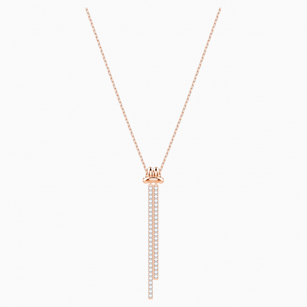 Swarovski Lifelong Y Pendant, White, Rose-gold tone plated