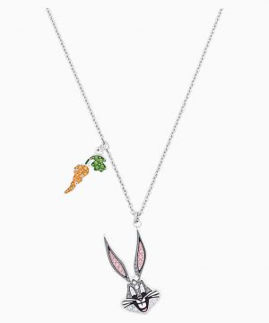 Swarovski Looney Tunes Bugs Bunny Pendant, Multi-colored, Rhodium plated
