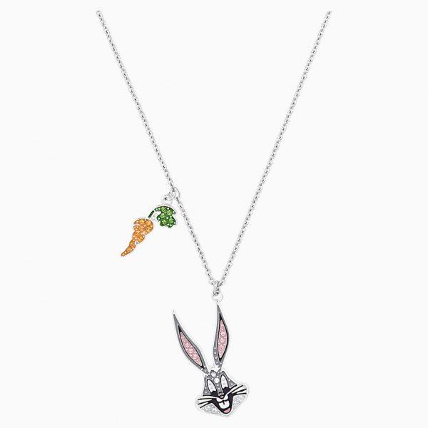 Swarovski Looney Tunes Bugs Bunny Pendant, Multi-colored, Rhodium plated