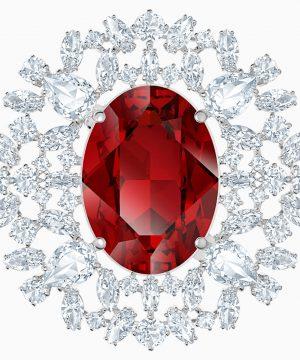 Swarovski Louison Brooch, Red, Rhodium plated