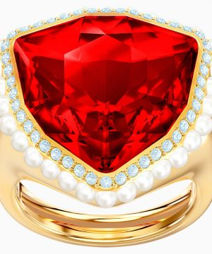 Swarovski Lucky Goddess Cocktail Ring, Red, Gold-tone plated