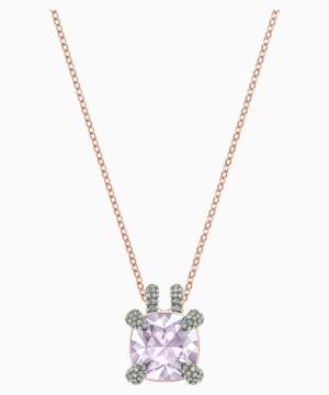 Swarovski Make Pendant, Violet, Rose-gold tone plated