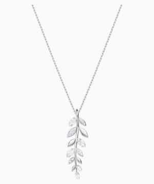 Swarovski Mayfly Pendant, White, Rhodium plated