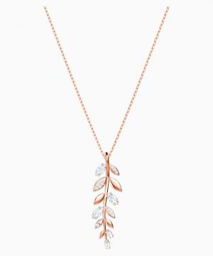 Swarovski Mayfly Pendant, White, Rose-gold tone plated