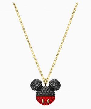 Swarovski Mickey Pendant, Black, Gold-tone plated