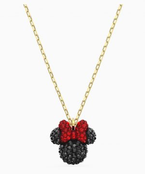 Swarovski Minnie Pendant, Black, Gold-tone plated