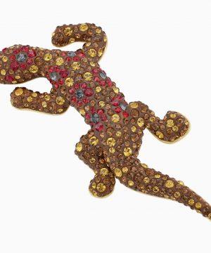 Swarovski Mustique Sea Life Geko Brooch, Brown, Gold-tone plated