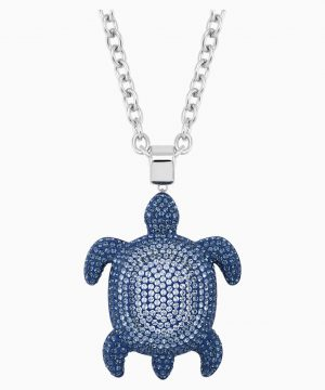 Swarovski Mustique Sea Life Turtle Pendant, Large, Blue, Palladium plated