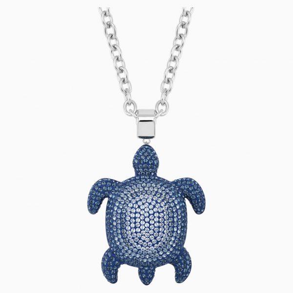 Swarovski Mustique Sea Life Turtle Pendant, Large, Blue, Palladium plated