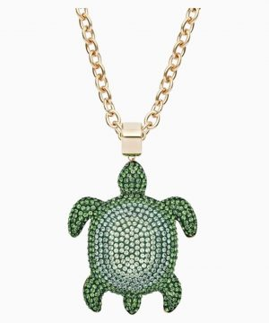 Swarovski Mustique Sea Life Turtle Pendant, Large, Green, Gold-tone plated