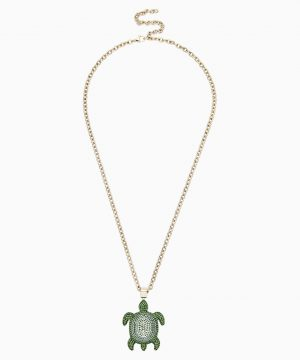 Swarovski Mustique Sea Life Turtle Pendant, Small, Green, Gold-tone plated