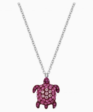Swarovski Mustique Sea Life Turtle Pendant, Small, Pink, Palladium plated