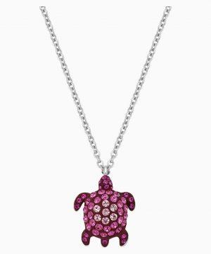 Swarovski Mustique Sea Life Turtle Pendant, Small, Pink, Palladium plated