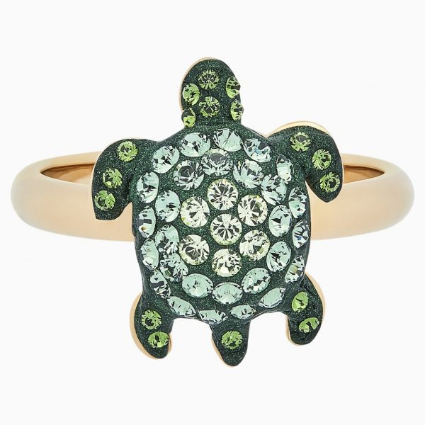 Swarovski Mustique Sea Life Turtle Ring, Small, Green, Gold-tone plated