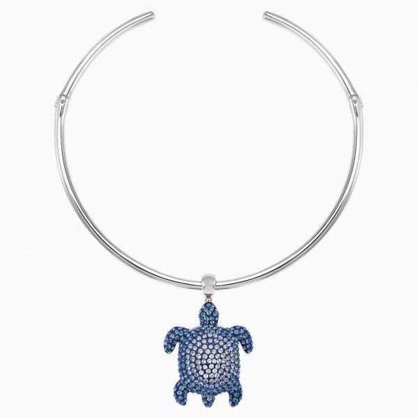 Swarovski Mustique Sea Life Turtle Torque Necklace, Blue, Palladium plated