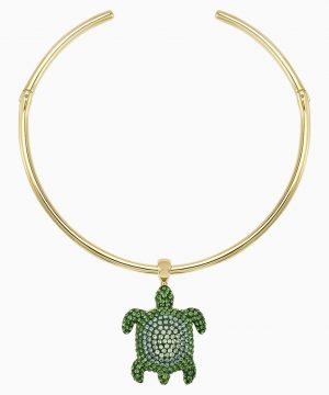 Swarovski Mustique Sea Life Turtle Torque Necklace, Green, Gold-tone plated
