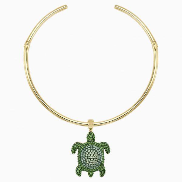 Swarovski Mustique Sea Life Turtle Torque Necklace, Green, Gold-tone plated