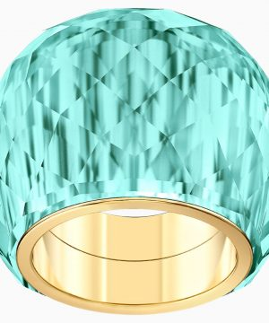 Swarovski Nirvana Ring, Aqua, Gold-tone PVD