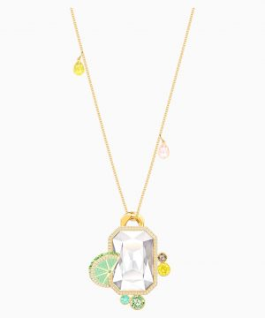 Swarovski No Regrets Pendant, Multi-colored, Gold-tone plated