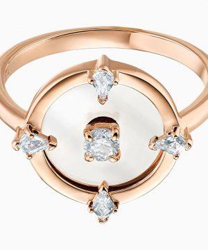 Swarovski North Motif Ring, White, Rose-gold tone plated