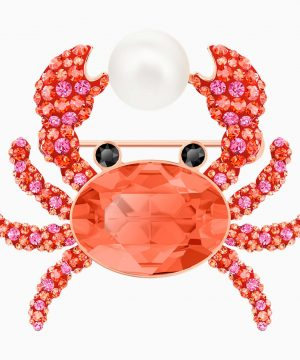 Swarovski Ocean Crab Brooch, Multi-colored, Rose-gold tone plated