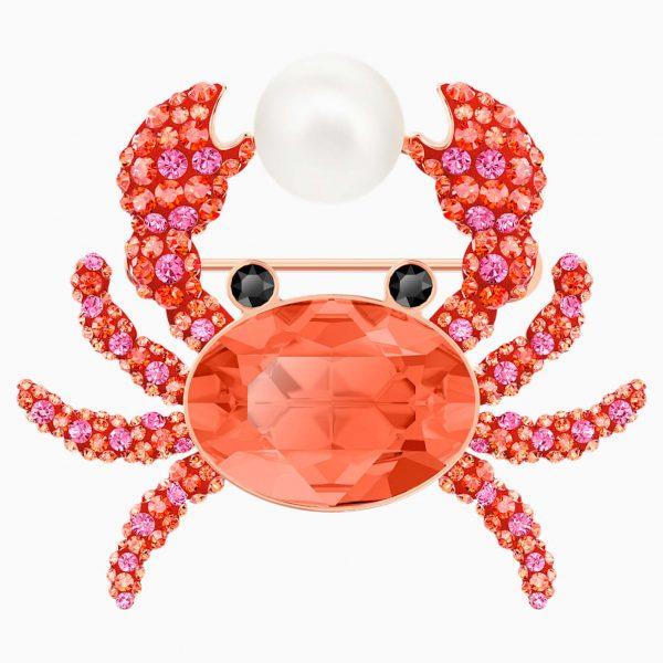 Swarovski Ocean Crab Brooch, Multi-colored, Rose-gold tone plated