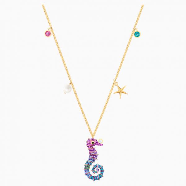 Swarovski Ocean Seahorse Pendant, Multi-colored, Gold-tone plated